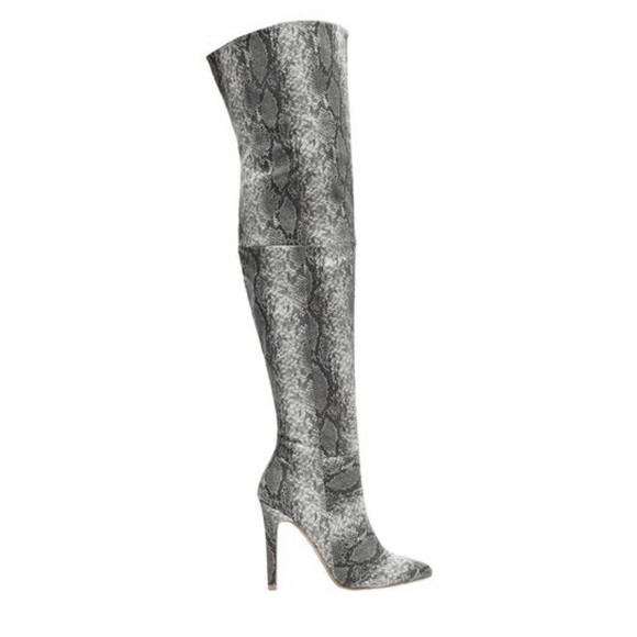 c155659b7e50 Style Link Miami Shoes | Black Grey Snakeskin Over The Knee Boots ...